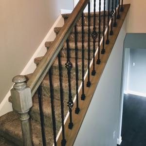 Iron railing on stairs