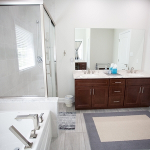 custom built master bathroom
