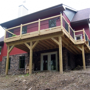 custom home exterior with deck