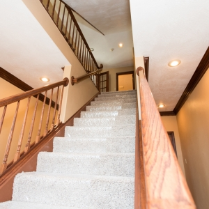 View of stairs in home restoration